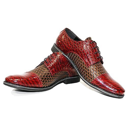 Modello Ramonet - Cuero Italiano Hecho A Mano Hombre Piel Rojo Zapatos Vestir Oxfords - Cuero Cuero Repujado - Encaje: Amazon.es: Zapatos y complementos