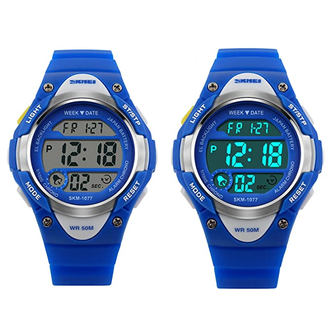 Gryiyi - Reloj deportivo digital con LED, resistente al agua hasta 50 m, ideal para niños y niñas, 0.07 pounds, color 1.Blue (with No Hand): Amazon.es: ...