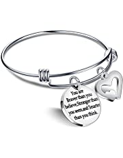 Bangle Bracelets You are Braver Stronger Smarter than you think Best Friend Gifts for Family Women Men