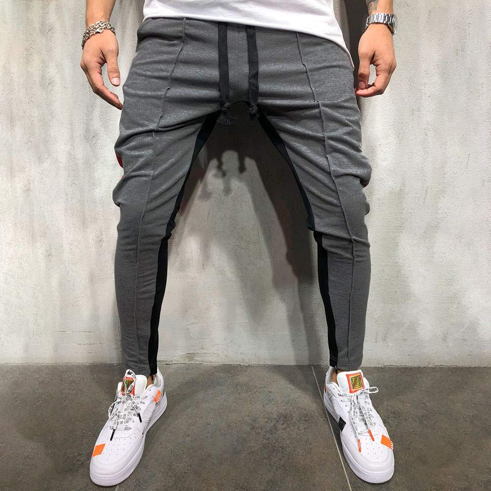 Auwer Men Trousers 2019 Mens Slim Fit Track Pants Striped Joggers Sweatpants Color Block Training Pants
