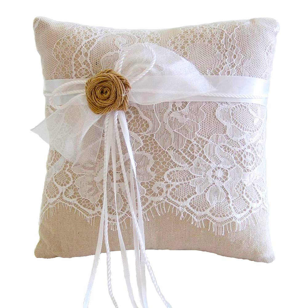 ARKSU Ring Bearer Pillow Cushion 8.2x8.2 inch with Burlap Flower and lace for Rustic Bridal Wedding Shower Ceremony