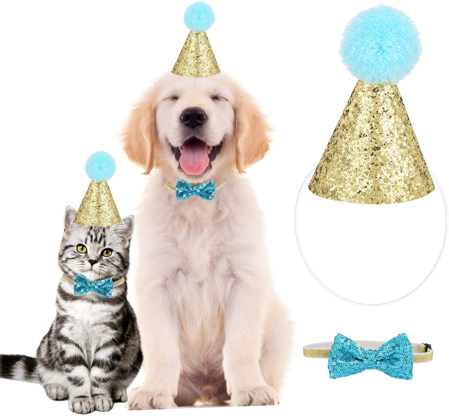 YOUTHINK Sombrero para Mascotas, Gorro de Cumpleaños para Gato, Perro, Diadema Reutilizable, Sombreros, Pajarita, Disfraz de Fiesta para Cachorros, Decoración de Cumpleaños, Dorado