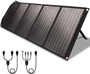 ROCKPALS RP082 100w Foldable Solar Panel Charger with Kickstand, Parallel Cable, QC 3.0 and USB-C, Upgraded Portable Solar Panel for Jackery/Rockpals Power Station