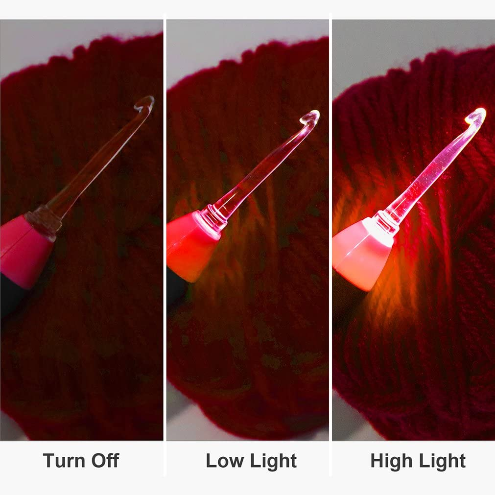 Azul BCMRUN Set de ganchos de ganchillo LED 9 cabezales intercambiables iluminan agujas de tejer accesorios de herramienta de costura con caja