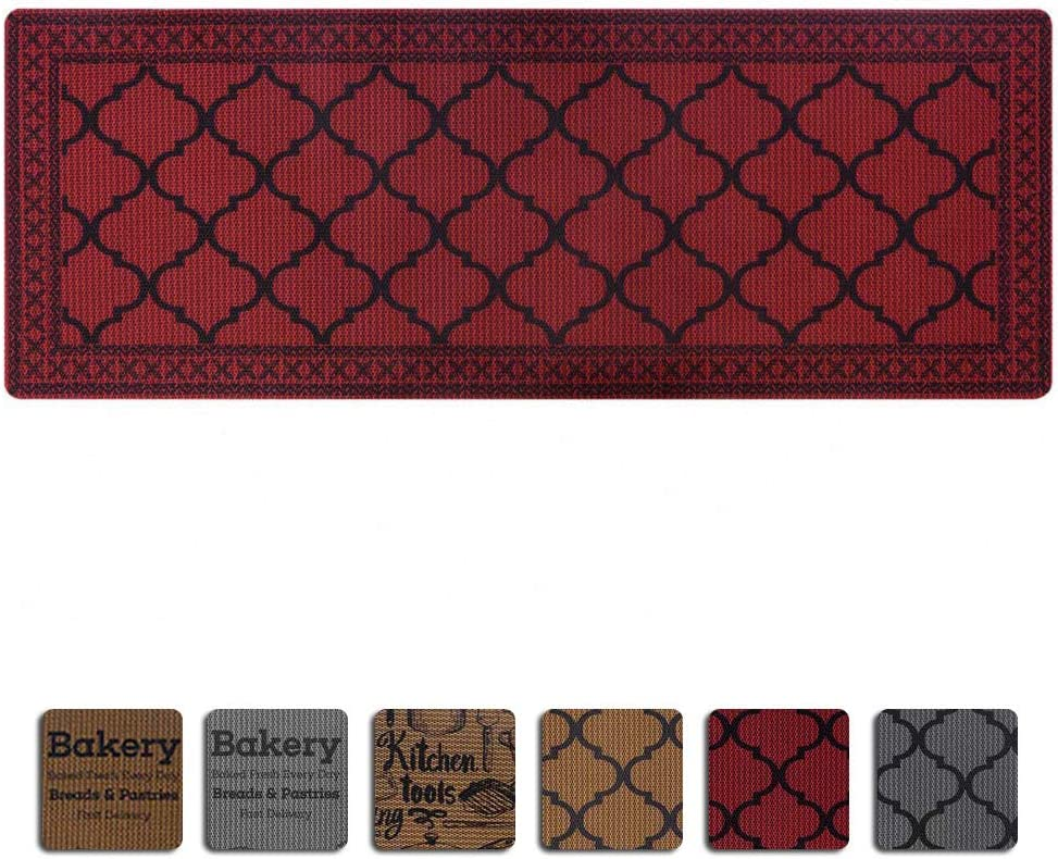 """Carvapet Moroccan Trellis Non-Slip Doormat Durable Honeycomb Texture Kitchen Rug Runner Carpet, Indoor Outdoor, Easy Clean, Low-Pile Mats for Entry, Patio, High Traffic Areas, 18""""x47"""", Burdungy"""