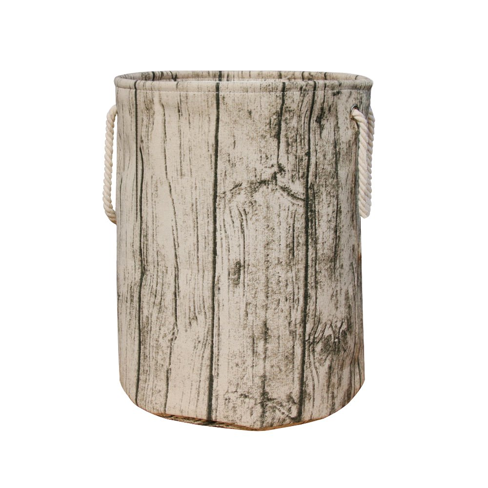 Jacone Stylish Tree Stump Shape Design Storage Basket Cotton Fabric Washable Cylindric Laundry Hamper with Rope Handles, Decorative and Convenient for Kids Bedroom