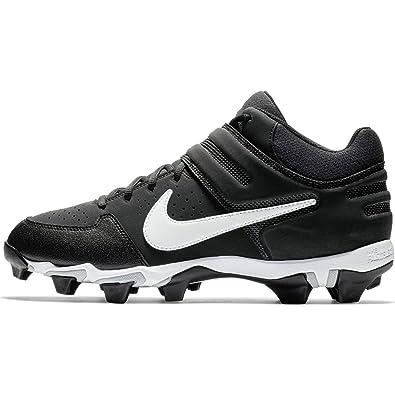 4b35e707b554 Nike Men s Alpha Huarache Varsity Keystone Mid Molded Baseball Cleat Black  White Size 7 M