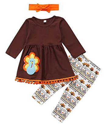 c303b4ff1d84c Amazon.com: 3Pcs Kids Baby Girls Thanksgiving Clothes Turkey T-Shirt ...