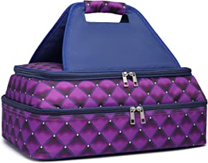 KatieKay Insulated Casserole Carrier-Hot Cold Food Delivery Bag-Casserole Dish Carrier (purple/blue)
