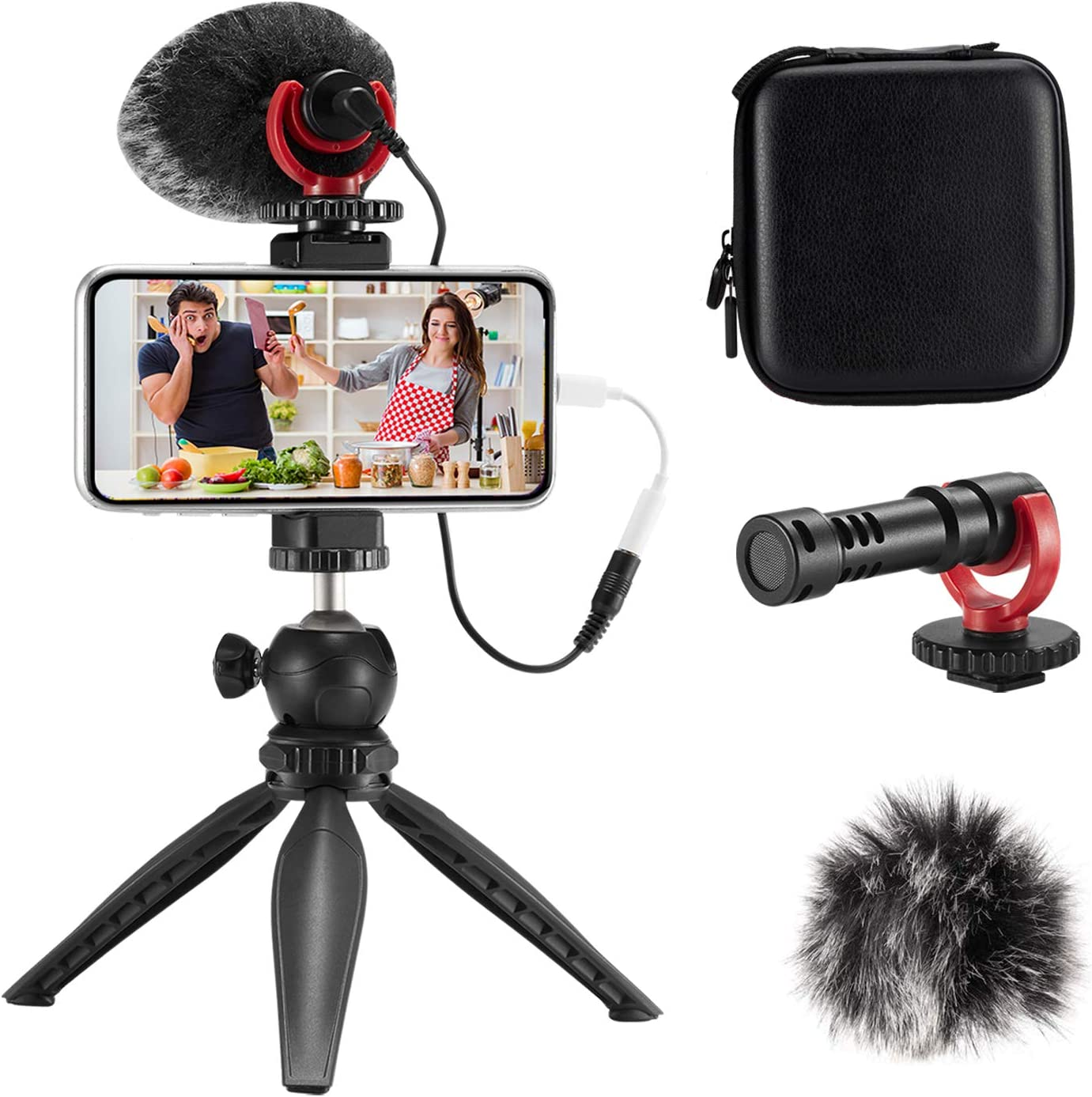 FULAIM Smartphone Video Microphone Kit, Shotgun Mic Rig Video Recording Accessories w/Phone Holder Tripod Compatible with iPhone XS Max 11 Pro 8 Plus 7 Samsung Huawei etc. for TIK Tok YouTube Vlogging