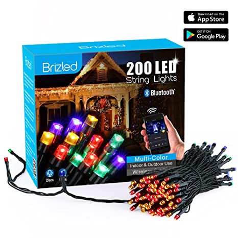 brizled dimmable led string lights 200 led 65ft mini string lights bluetooth led lights - Amazon Led Christmas Lights