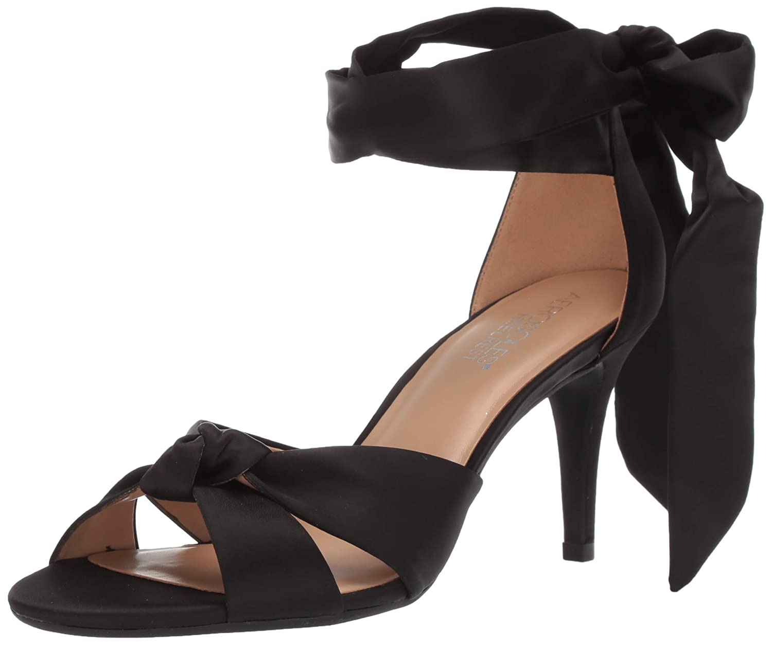 Black Satin Aerosoles Womens Market Heeled Sandal