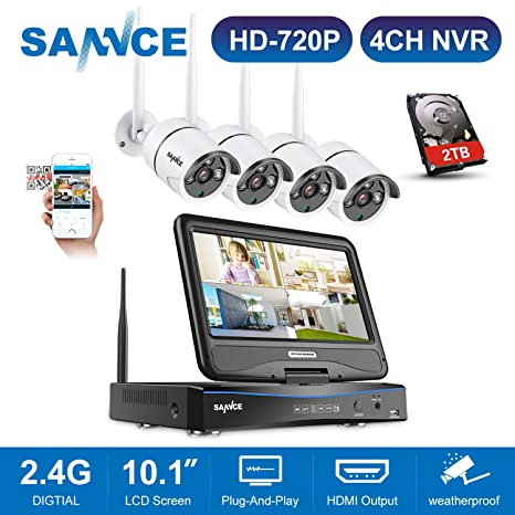 SANNCE kit de seguridad wifi con monitor 10.1 LCD sistema de vigilancia (Onvif H.