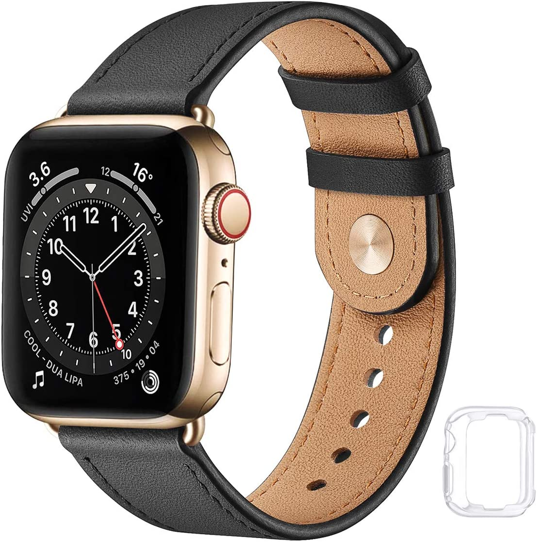 Soft Leather Watch Bands Compatible with Apple Watch Band 38mm 40mm 42mm 44mm, Special Watch Band Replacement Strap for Women Men for iWatch SE Series 6 5 4 3 2 1 (Black with Gold, 38MM/40MM)