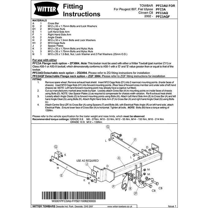 WITTER PFC3A Fixed Flange Neck Tow Bar Citroen C8 Fiat Ulysse Peugeot 807 MPV
