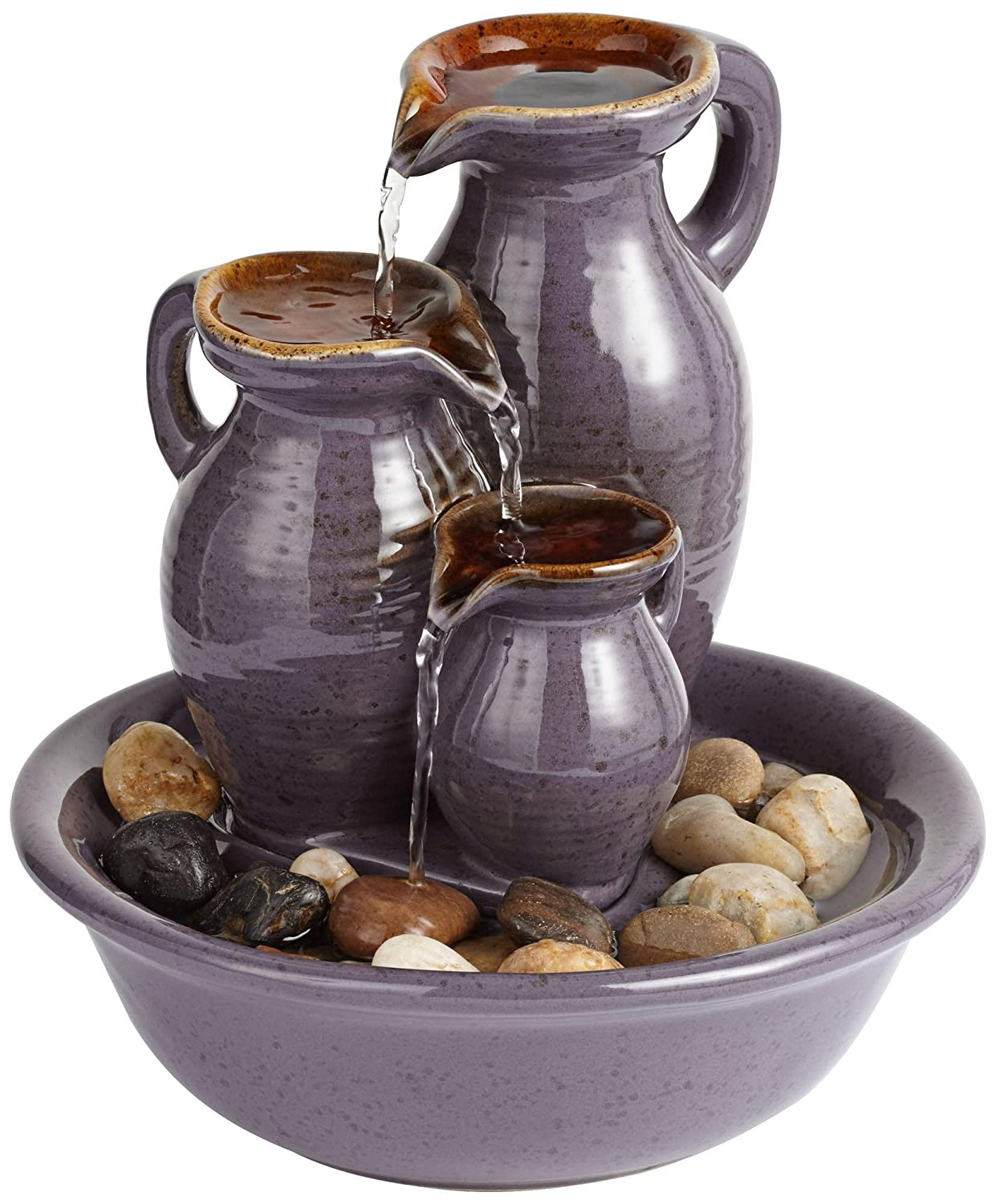 "John Timberland Triple Jug Indoor-Outdoor 8 1/4"" High Tabletop Fountain"