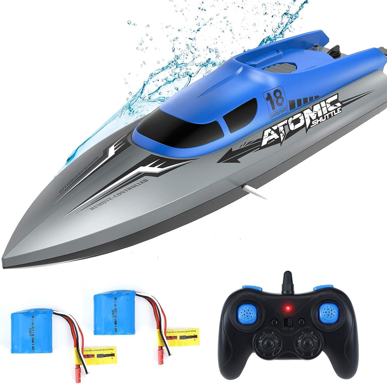 EACHINE EB02 Barco de Control Remoto para Niños Alta Velocidad 2.4 GHz 40 Minutos 150 Metros Volteo de 180°2 cabinas Diseño Impermeable 370 Motor de Enfriamiento Conmutación de Velocidad (2 Baterías)