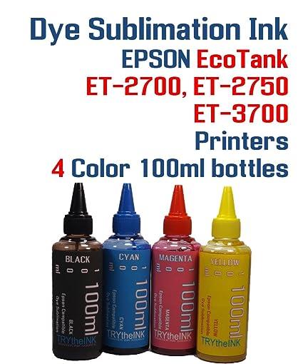 84c40ceafd6a6 Dye Sublimation Ink 4 Multi Color 100ml bottles - EcoTank ET-2700, ET-2750,  ET-3700 printers