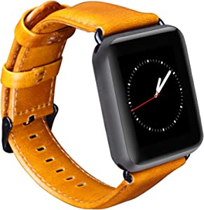 OMECKY Watch Strap Compatible with Apple Watch Leather Band Series 6/5 / 4, SE (44mm) Series 3/2 / 1 (42mm), [Brown, Black Buckle]