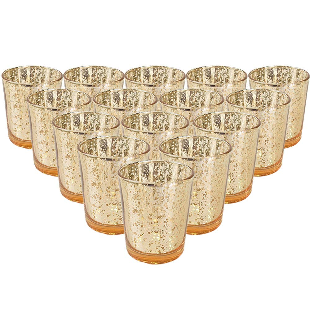 Just Artifacts Mercury Glass Votive Candle Holder 2.75'' H (15pcs, Speckled Gold) - Mercury Glass Votive Tealight Candle Holders for Weddings, Parties and Home Décor
