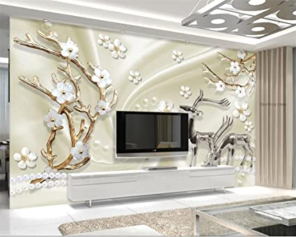 Wapel Custom Wall Paper Jewels Metal Elk 3d Living Room Bedroom Tv