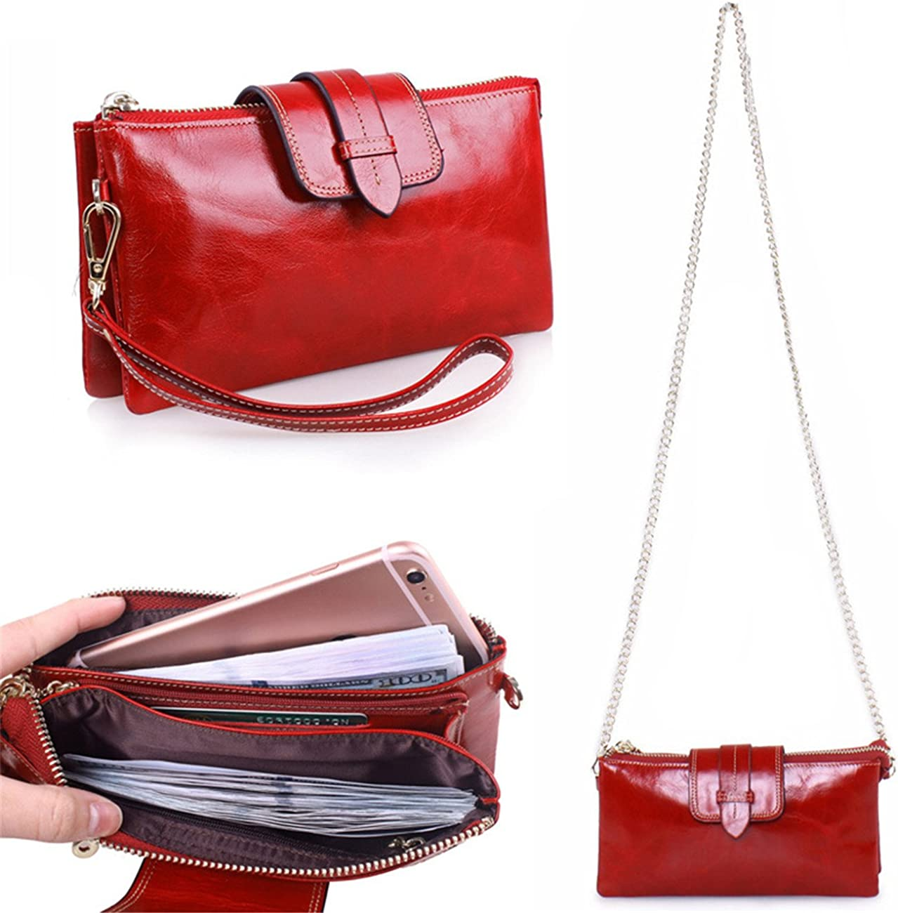 Women Fashion Genuine Leather Wallets Ladies Cowhide Coin Purse Card /& Id Holders Handbags,Red