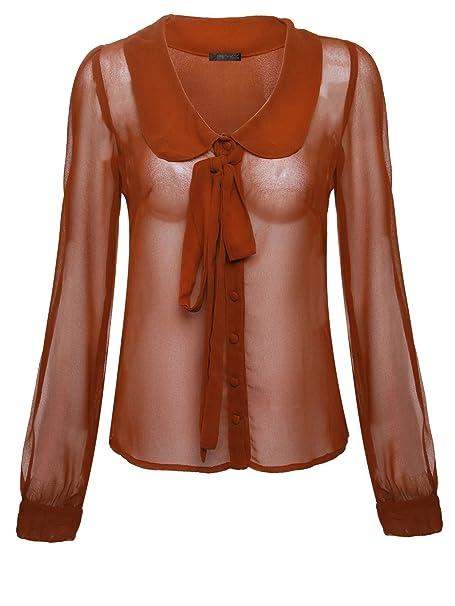 Envy Boutique - Camiseta de manga larga - Blusa - Manga Larga - para mujer marrón