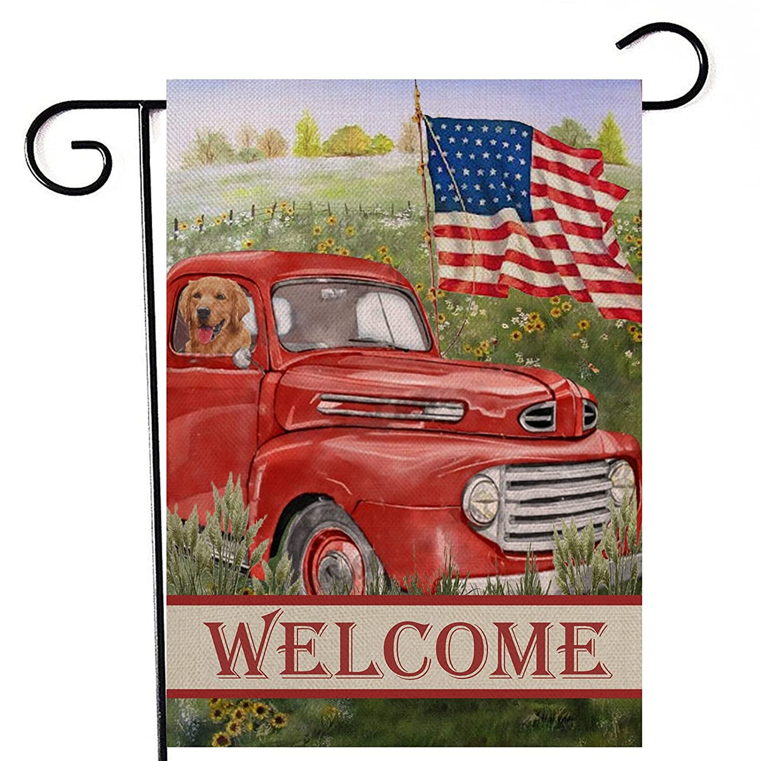 Artofy Welcome Summer Vintage Red Truck Decorative Garden Flag, House Yard Dog Sunflower Country Decor Outdoor Small USA Patriotic Flag Double Sided, American July 4th Home Outside Decoration 12 x 18