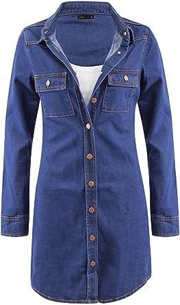 shelikes Womens Long Sleeve Vintage Blue Denim Jean Shirt Dress Size UK 6 8 10 12 14 16 18