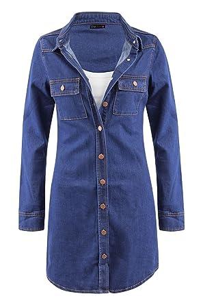18c9f83537 Shelikes Womens Long Sleeve Vintage Blue Denim Jean Shirt Dress Size UK 6 8  10 12 14 16 18 at Amazon Women s Clothing store