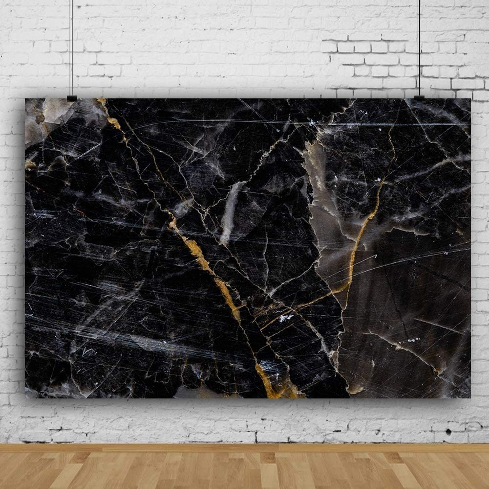RBQOKJ 10x10ft Black Marble Backdrop Natural Stones Texture Photo Background Abstract Marble Photography Backdrops for Shoot Studio Prop
