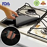Gas Rang Protectors -4 Pack Reusable Non -Stick Stove Burner Cover Keep Your Black Stovetop Cleaner-Heat Safe, Reusable, Dishwasher Safe, Easy to Clean