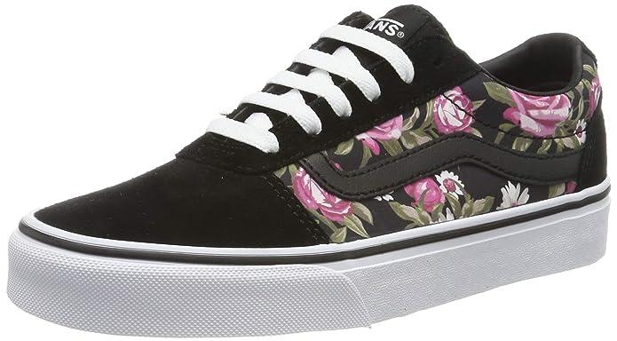 Vans Ward Schuhe Damen schwarz mit Rosen