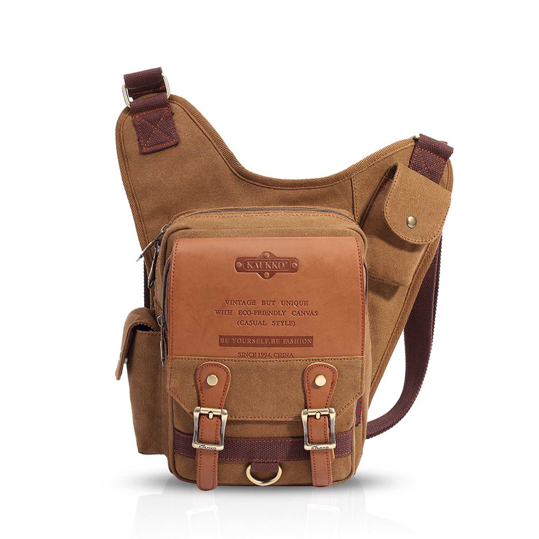 FANDARE Vintage Sling Bag Crossbody Bag Bolsas Gimnasio Mochila Hiking Bag Ciclismo Senderismo Bolso Bandolera Hombre Hombro Canvas Gris BK-HX003