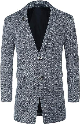 Allthemen Abrigo de lana para hombre, de corte ajustado, para invierno, largo