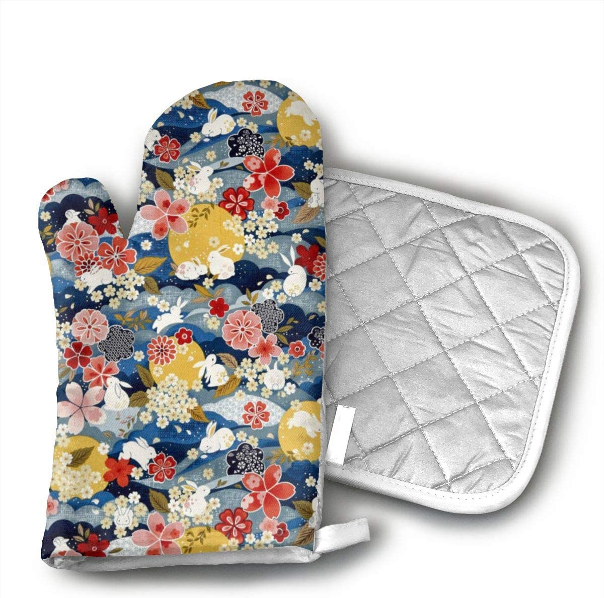 Ydsgjds The Moon Rabbit Oriental Floral Blue Oven Mitts and BBQ Gloves Pot Holders,Kitchen Gloves for Grilling Machine Baking Grilling with Non-Slip