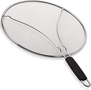 """Splatter Screen for Frying Pan,13""""Stainless Steel Grease Guard-Stops 99% Hot Oil Splash,Prevent and Protects Skin from Burns-Splatter Guard for Cooking - Iron Skillet Lid Keeps Kitchen Clean"""