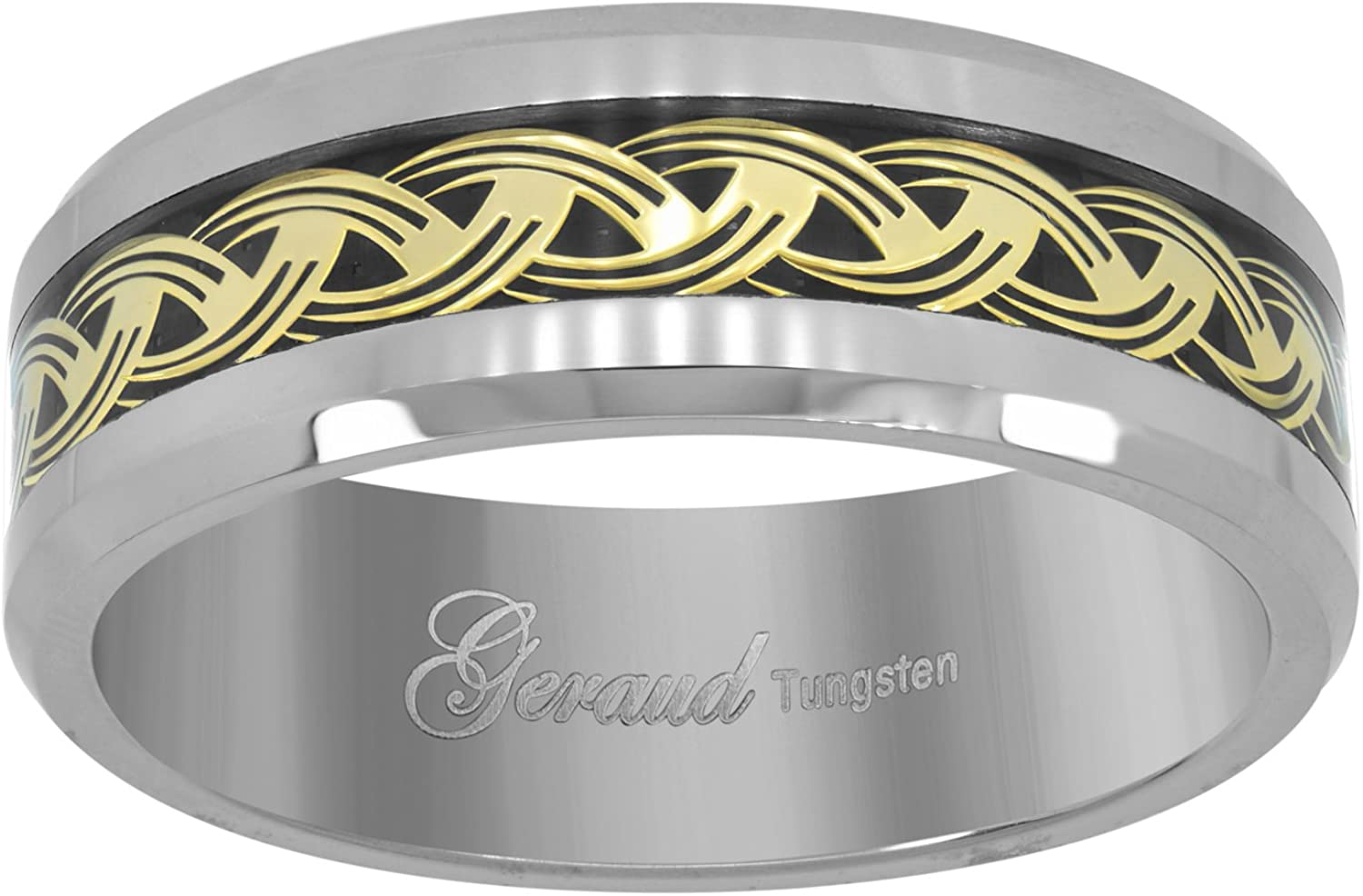 Jewels By Lux Tungsten Black Carbon Fiber Comfort-fit 8mm Wedding Band Ring