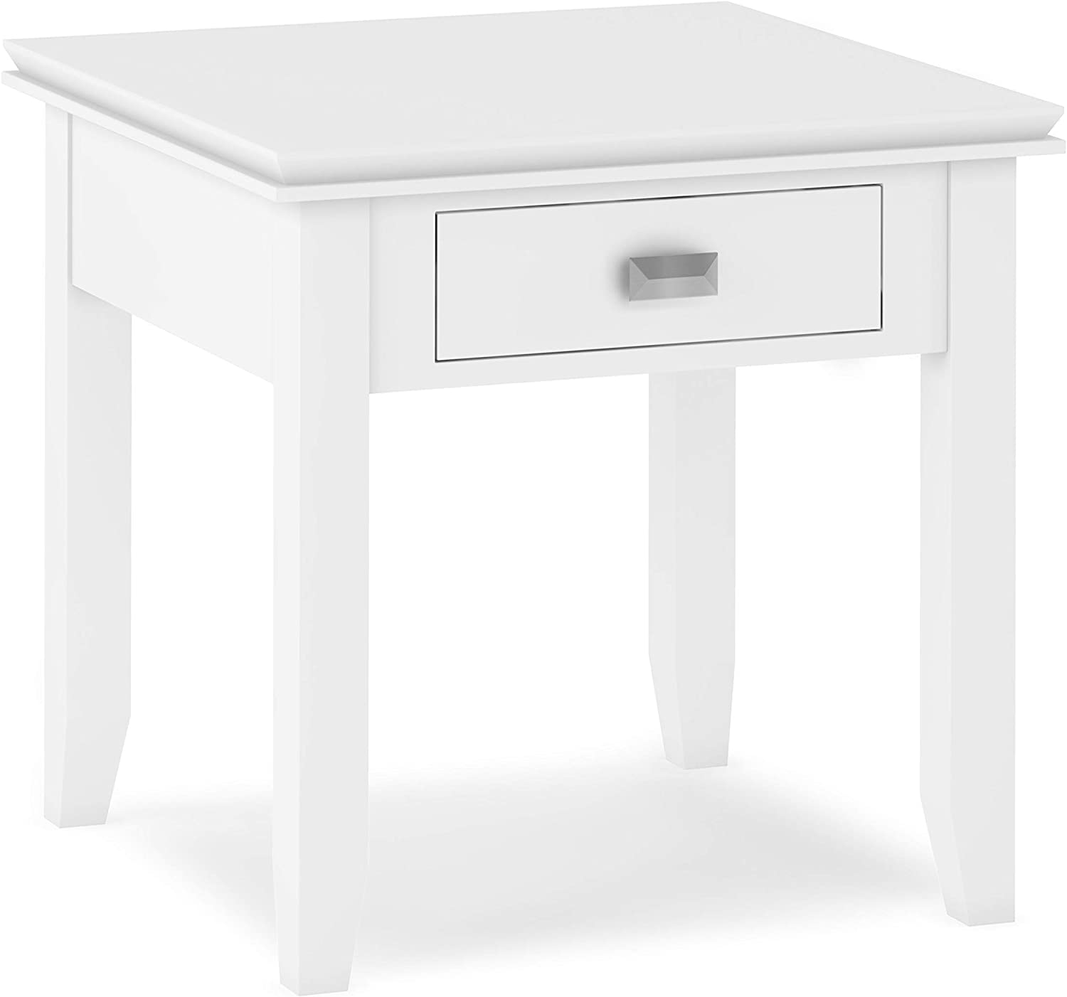SIMPLIHOME Artisan SOLID WOOD 21 inch wide Square Contemporary End Side Table in White with Storage, 1 Drawer, for the Living Room and Bedroom