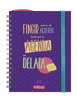 Finocam Talkual - Agenda 2018-2019 semana vista apaisada español, 155 x 215 mm, morado: Amazon.es: Oficina y papelería