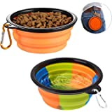 lesotc Collapsible Dog Bowl,2 Pack Silicone Fodable Water Food Bowls for Dogs Cats,Portable Expandable Pet Feeding Watering C