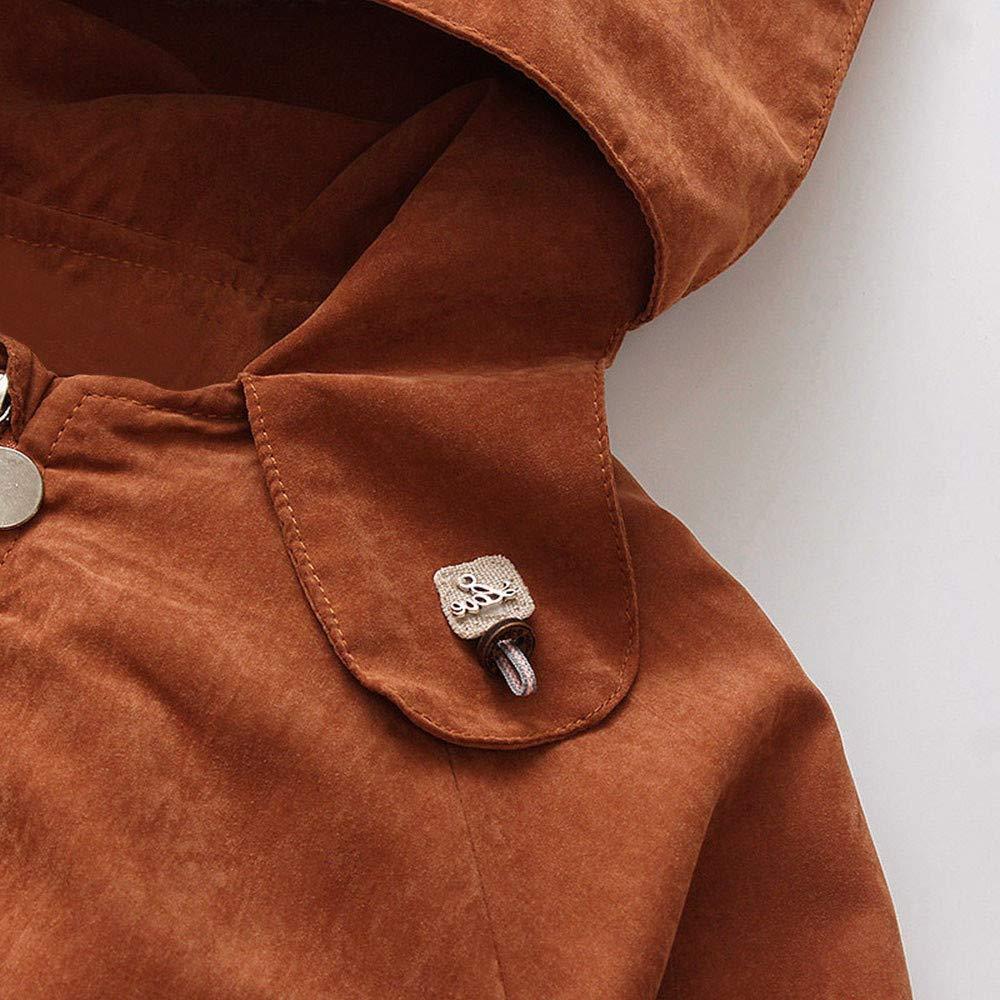 Geetobby Children Jacket Long Sleeve Cartoon Embroidery Hooded Windbreaker Coats