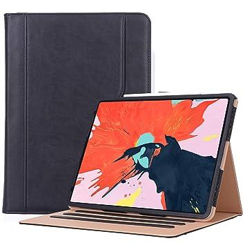 ProCase Funda Cuero PU para iPad Pro 12.9 2018 A1876/A2014/A1895, Carcasa Folio con Soporte Múltiple Ángulo para iPad Pro 12.9 3.ª Generación, Carga ...