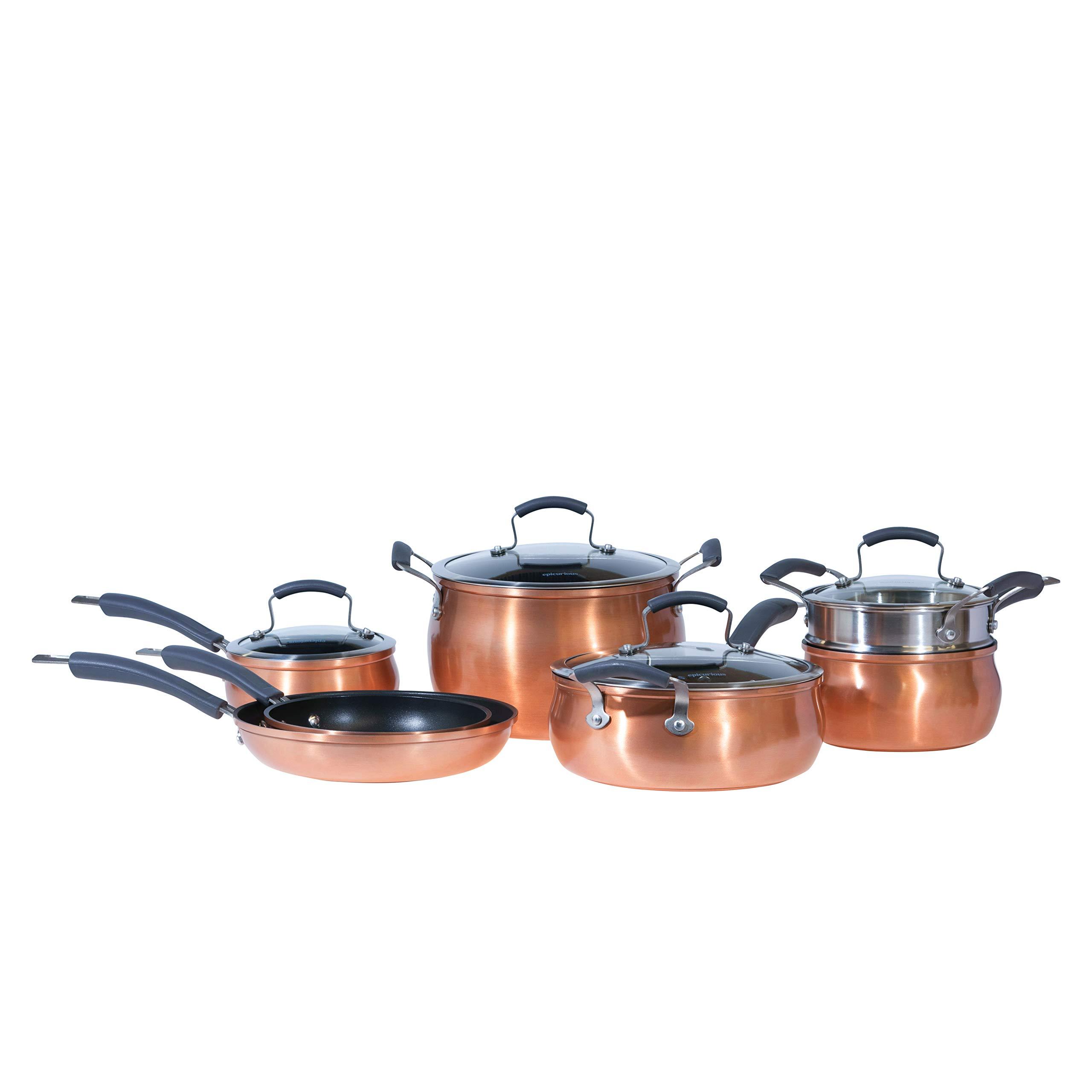Epicurious Cookware Collection- Dishwasher Safe Oven Safe, Nonstick Aluminum 11 Piece Copper Cookware Set by Epicurious