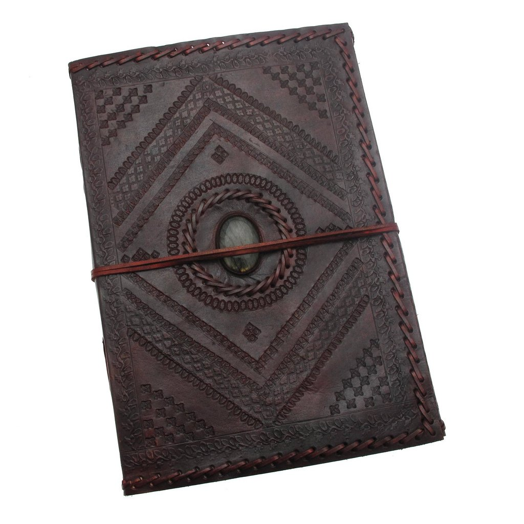 Indra A4 Carnet de notes de luxe en cuir de et papier fait à la main avec de la pierre - 205x300mm Paper High