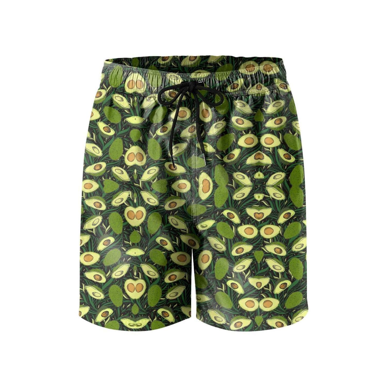 NINETYRW Avocado Leaves Mens Swim Shorts Cool Swimming Trunks for Men Board Shorts
