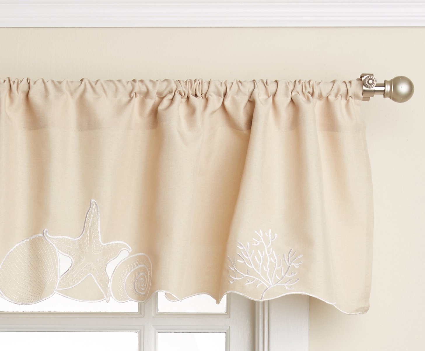 LORRAINE HOME FASHIONS Sanibel Valance, 56 x 12, Sand - Measures: Valance-inch Fabric Content: 100% polyester Care Instructions: Machine wash, cold water, gentle cycle. Do not bleach. Line dry. Warm iron if necessary - living-room-soft-furnishings, living-room, draperies-curtains-shades - 71kj2mWnkXL -
