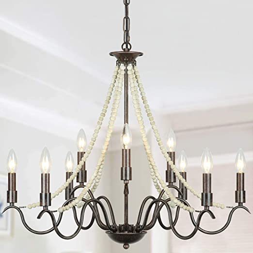 Derksic 9-Light French Country Chandeliers Rustic Farmhouse Candle Chandelier with Wood Beads Bronze Kitchen Island Lighting for Dining Room Living Room Entryway Stairwell