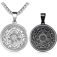 FLYUN Seals of The Seven Archangels Pendant Choker Statement Silver Stainless Steel Necklace