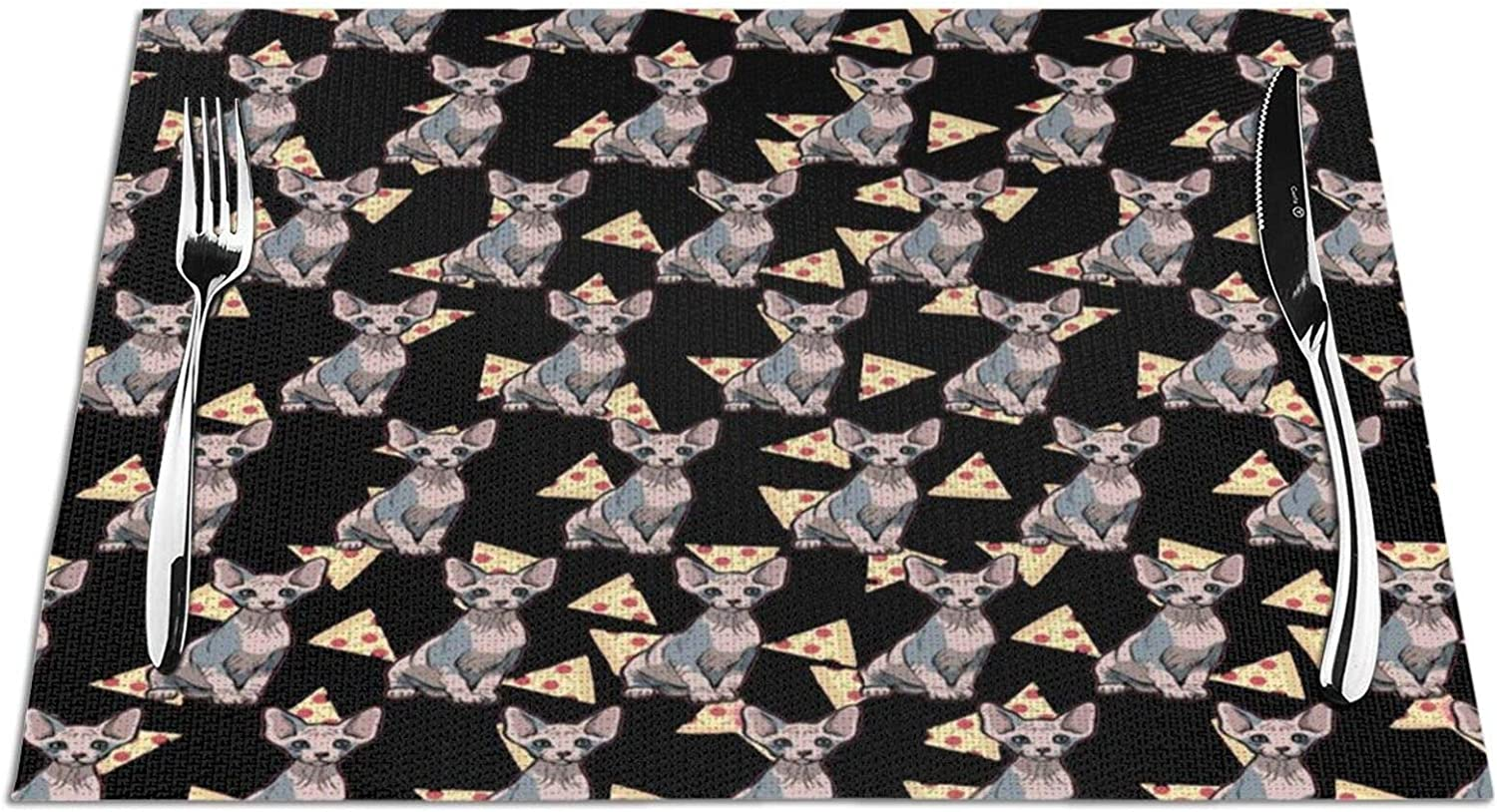 Pizza Food Sphynx Cat Placemat, Woven Non-Slip Insulation Placemats, Heat-Resistant Stain Resistant Anti-Skid Washable PVC Table Mats